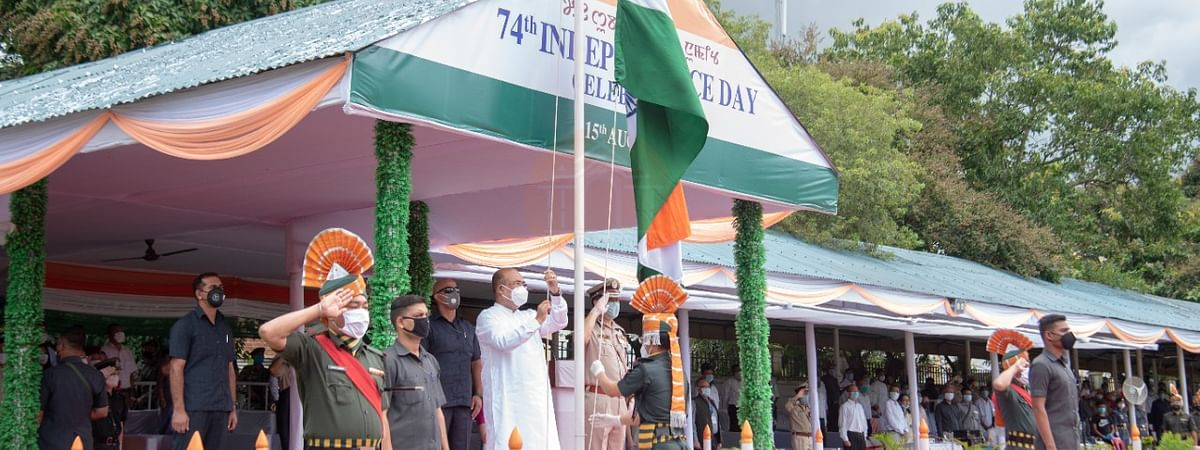 Manipur CM N Biren Singh unfurling the National flag on the 74th India Independence Day on Saturday
