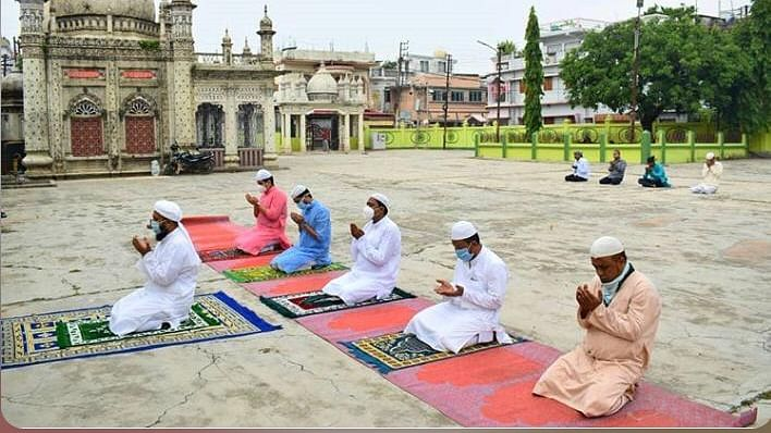 This year's namaz was performed at 6 am instead of 9 am with a limited number of people in the premises