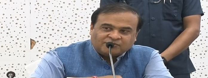 Himanta Biswa Sarma during a press conference at Janata Bhawan on Tuesday