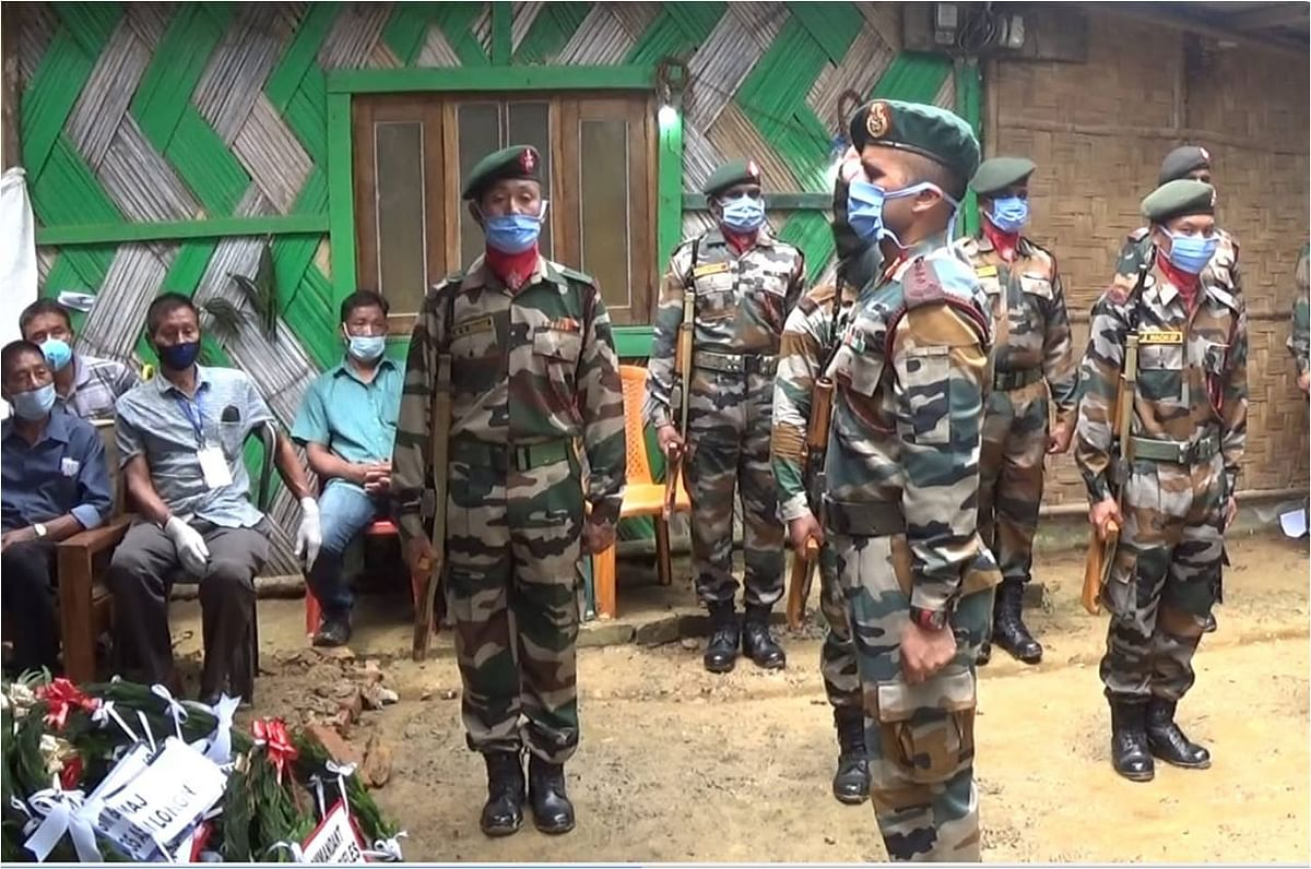 Assam Rifles paying homage to the slain soldier on Saturday