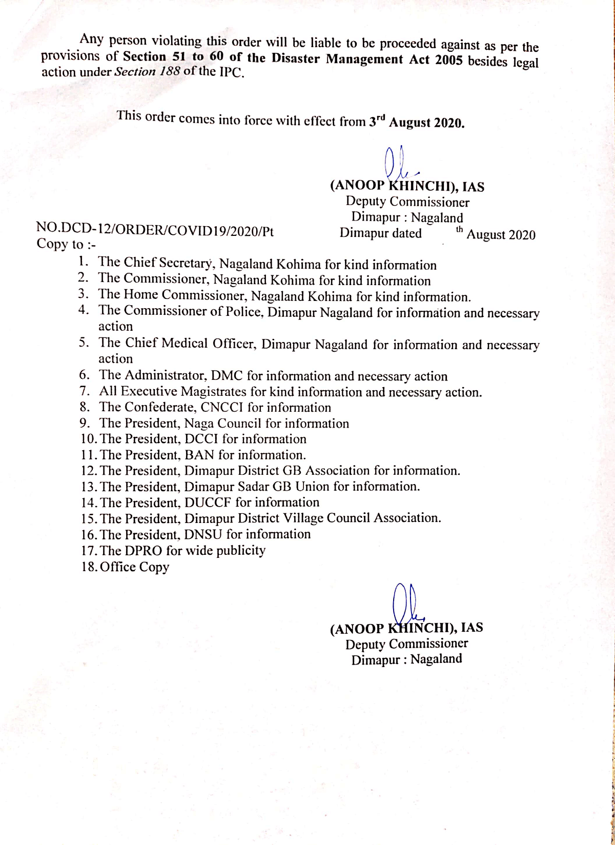 The order that was issued by the Deputy Commissioner of Dimapur on Saturday