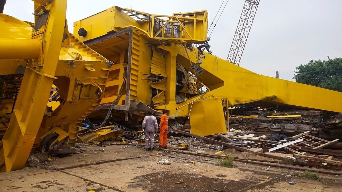 The crane collapsed during a load-testing trial