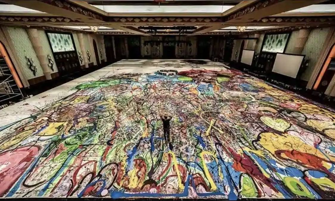 The artist posted on Instagram a few sections of the 1,800 sq m painting
