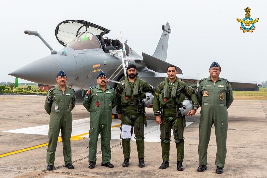 Chief of the Air Staff Air Chief Marshal RKS Bhadauria & AOC-in-C WAC Air Marshal B Suresh welcomed the first five IAF Rafales which arrived at AF Stn Ambala