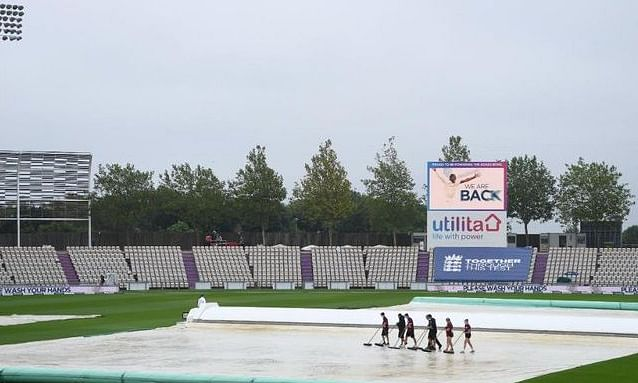 With constant drizzling throughout the day, the outfield became extremely wet at the Ageas Bowl