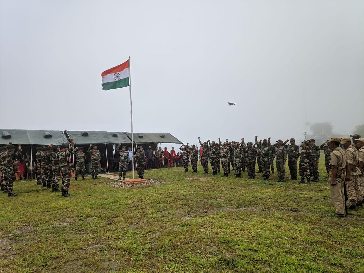 The tricolour was hoisted at Dan public ground with a ceremonial salute