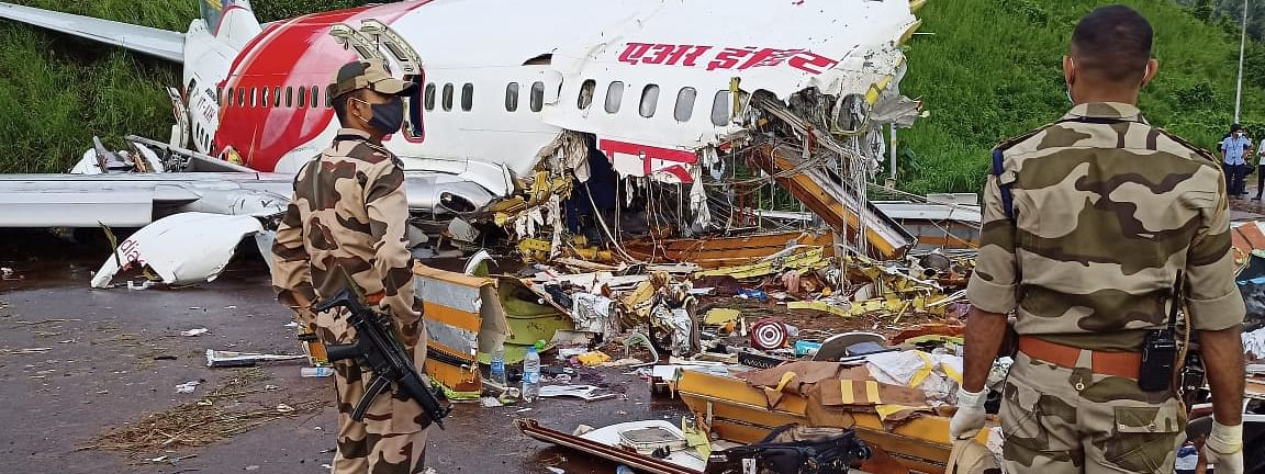 Wreckage of the ill-fated Air India Express flight at Kozhikode Airport on Saturday