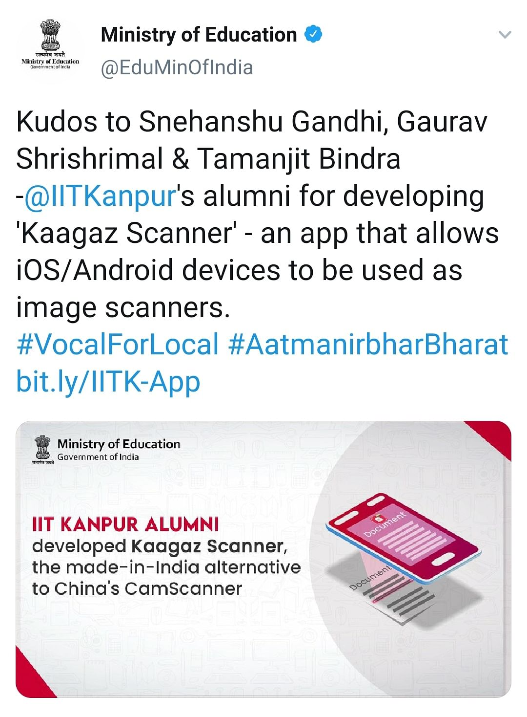 Tweet by Ministry of Education lauding the new app
