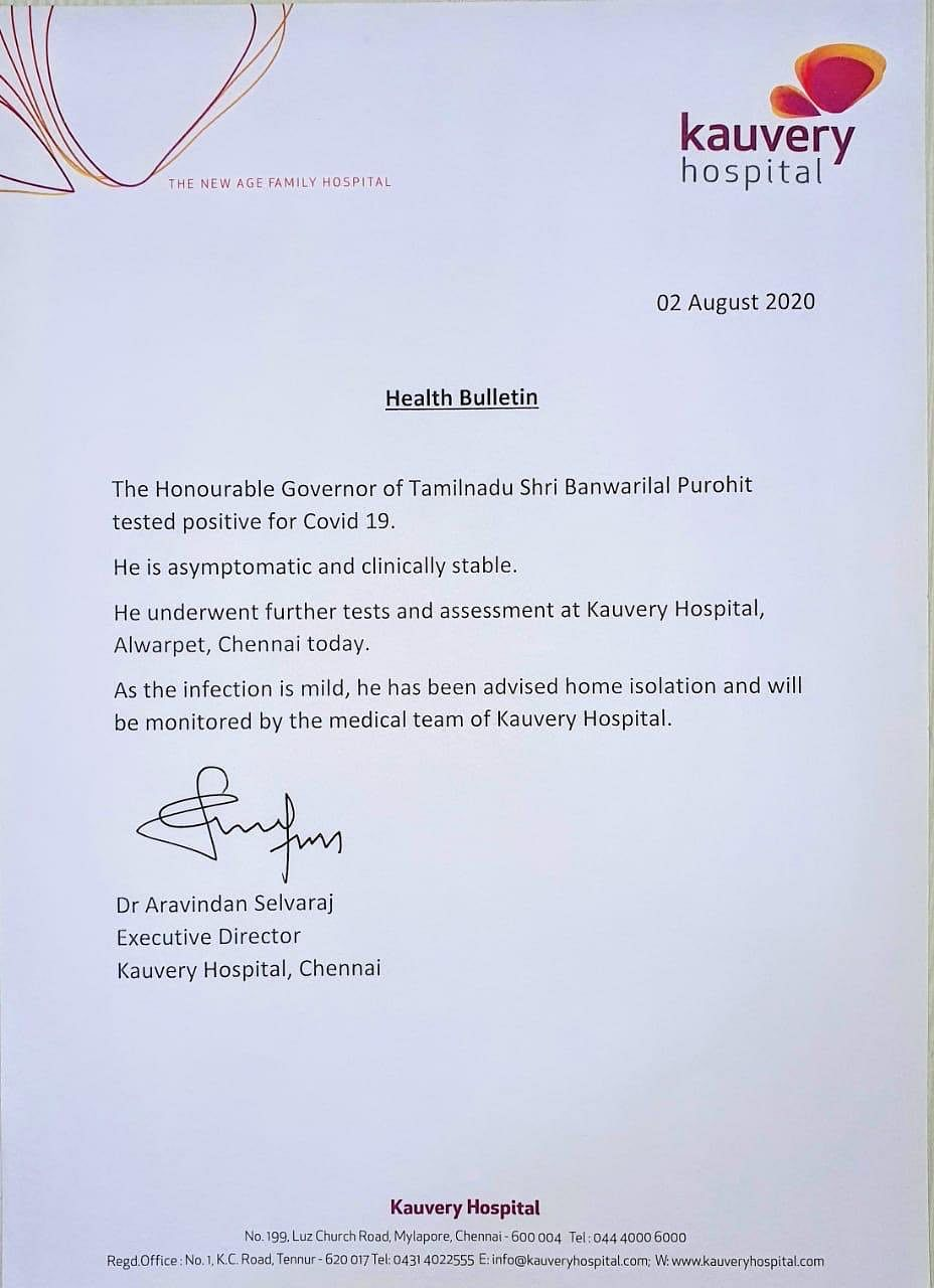 The statement by Kauvery hospital