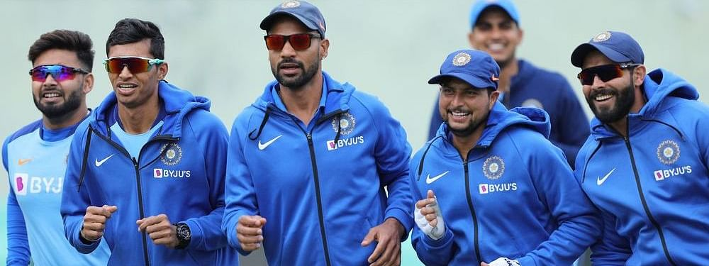 The Indian Cricket Team donning their nike sponsored kits during a training session
