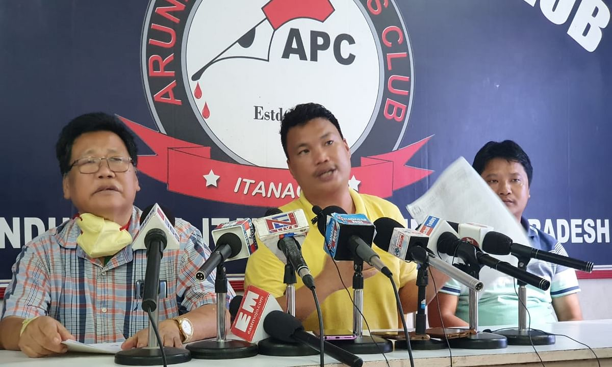 ANYA president Byabang Joram during a press conference at Arunachal Press Club on Tuesday