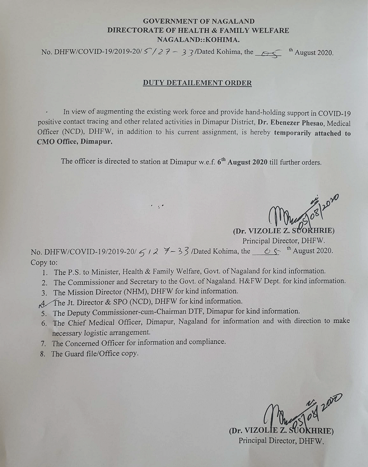The duty detailment order that was issued by the Department of Heath and Family Welfare Nagaland on August 5