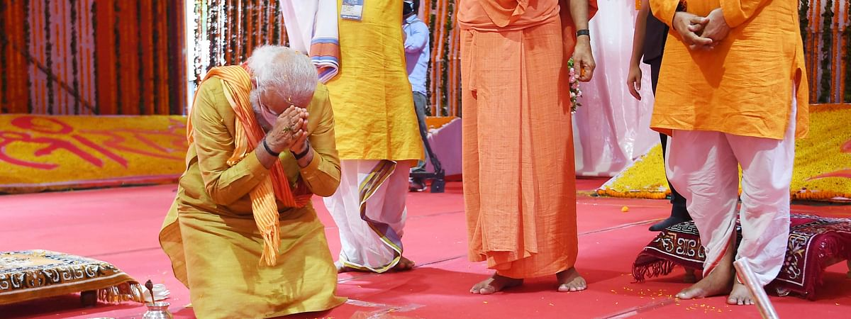 PM Narendra Modi shared the stage with Nritya Gopal Das on August 5