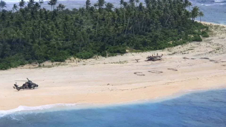 3 men rescued from tiny island after rescuers spot giant SOS written on sand