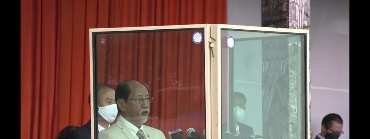 Nagaland chief minister Neiphiu Rio addressing the gathering as part of 74th Independence Day celebrations in Kohima on Saturday