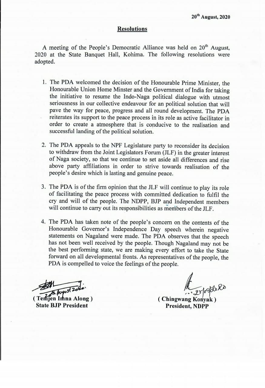 The resolutions that were passed by the PDA government in Nagaland today at the State Banquet Hall in Kohima