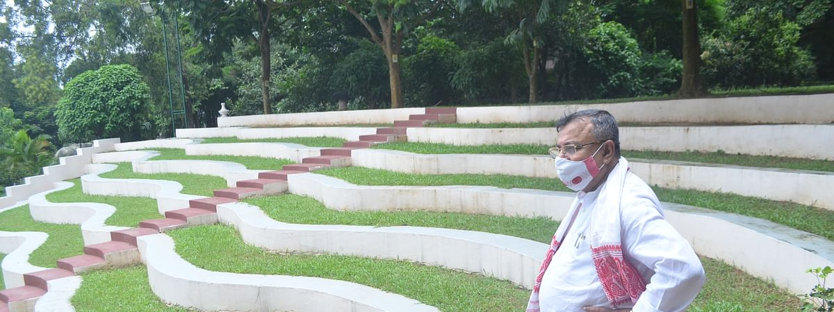Tripura law and parliamentary affairs minister Ratan Lal Nath inspecting Heritage Park gallery on Saturday