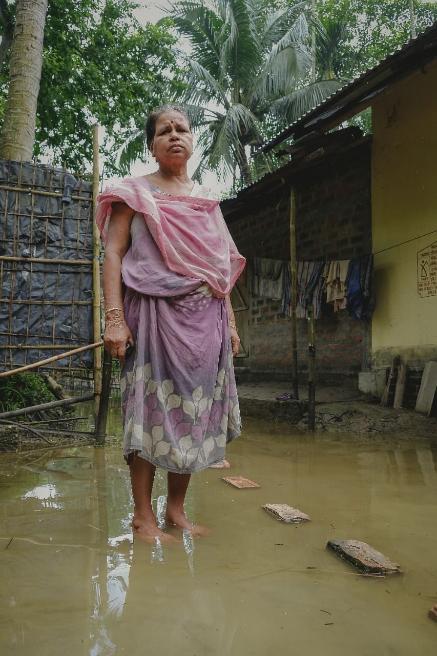 Putuli Barman from Barpeta, wife of a farmer who returned home after spending nine days in a relief camp