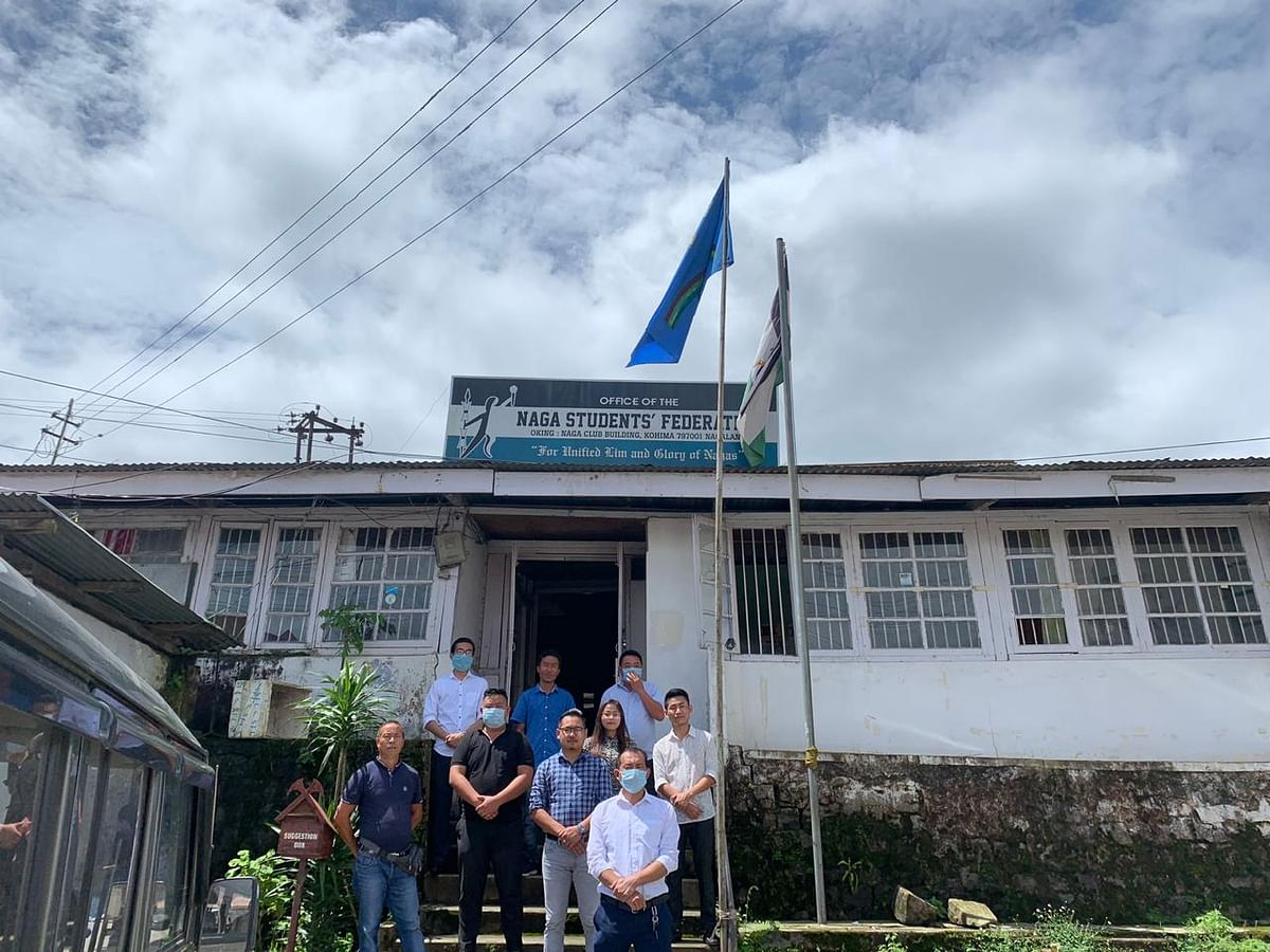 NSF and ANCSU officials outside the NSF headquarters in Kohima