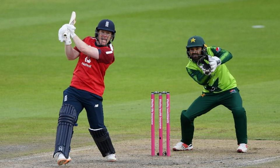 Eoin Morgan belted a blistering 66 of 33 to help England chase down a record target at Old Trafford in the second Twenty20 international on Sunday
