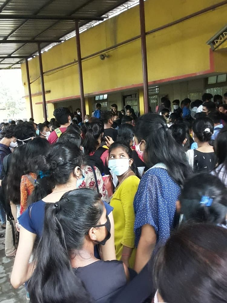 Students in large numbers gathered at college premises on Tuesday