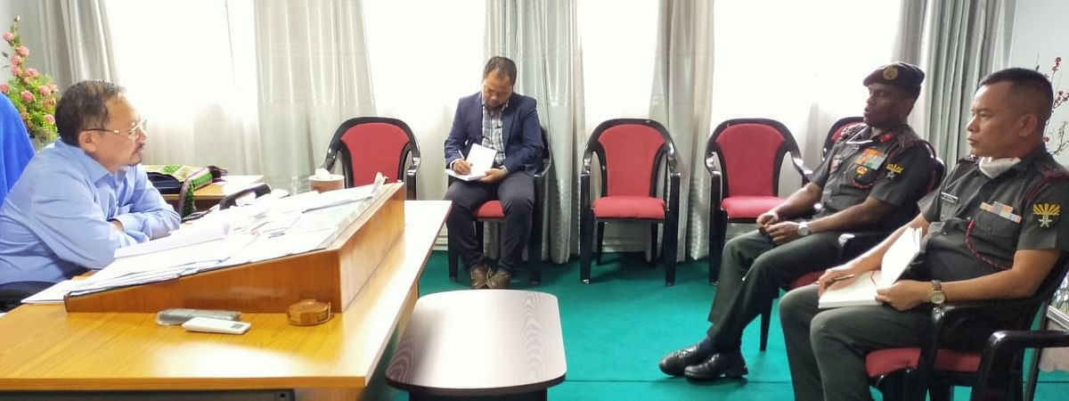 Mizoram home minister Lalchamliana interacts with 23 sector Assam Rifles DIG Brig Vinod S