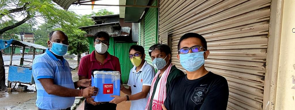 Dr Bhaskar Papukan Gogoi (right, front) is now often referred to as a 'Plasma Hero'
