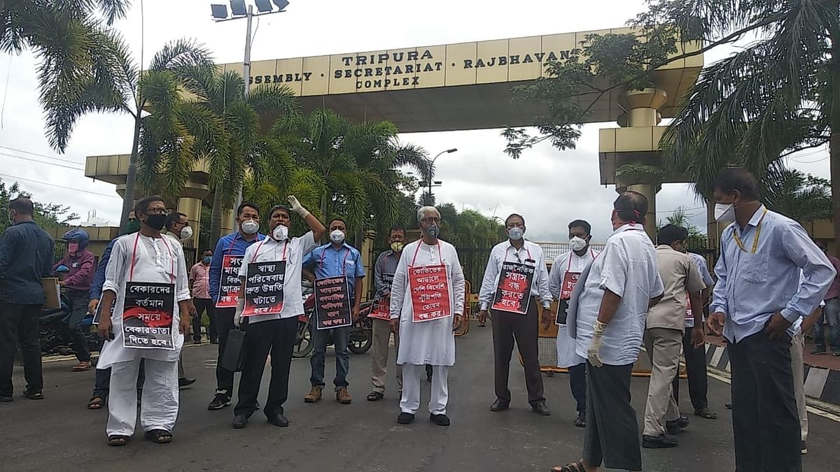 The legislators of Opposition CPIM protesting in front of Tripura Assembly on Monday