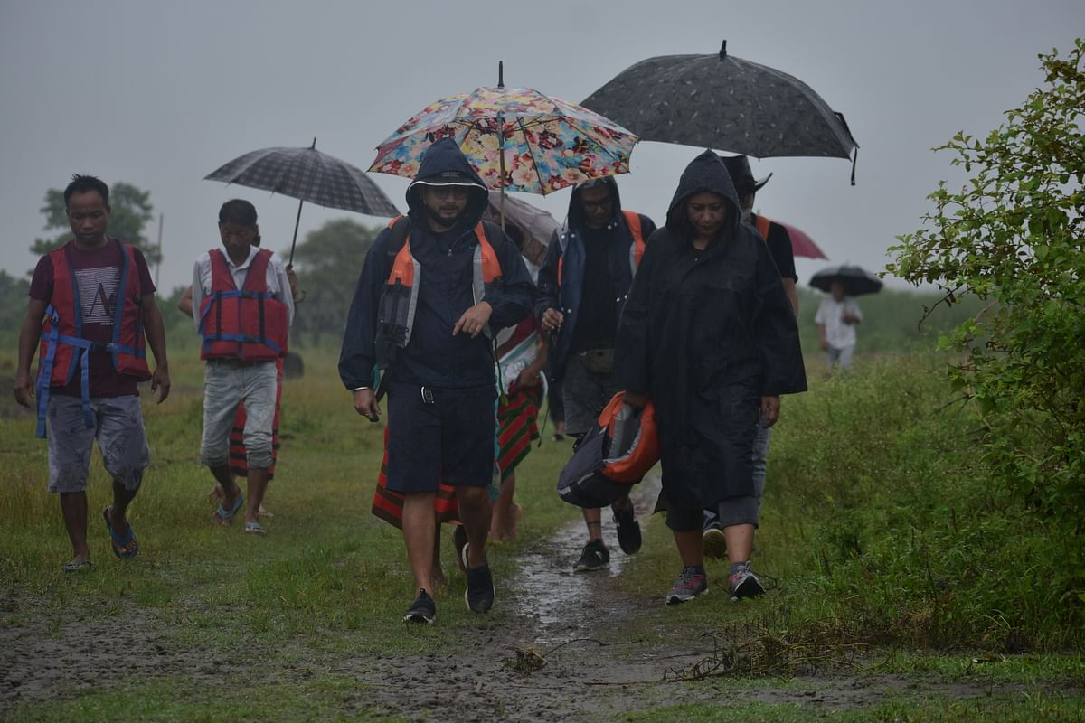 Hasina Kharbhih, chairperson, Impulse NGO Network, visits some of the flood-hit areas in Assam