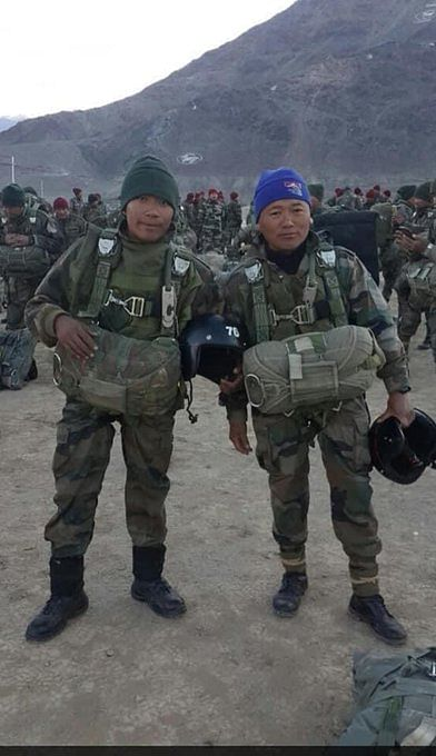 Special Frontier Force (SFF) soldier Company Leader Nyima Tenzin (Right)