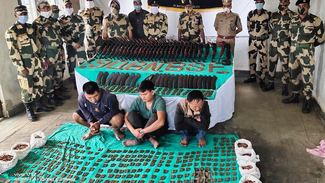 Mizoram: Huge cache of arms & ammo seized near Bangla border; 3 held