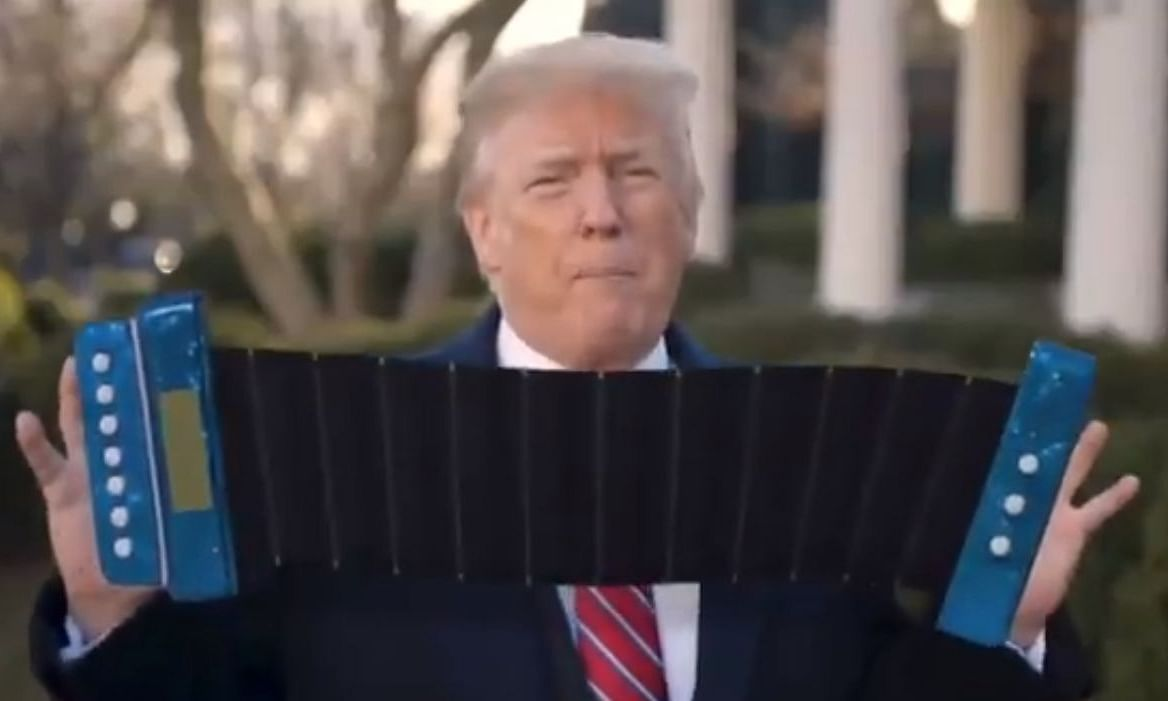 Given the US President often uses his hands while talking, someone digitally altered a series of videos to add an accordion between his hands