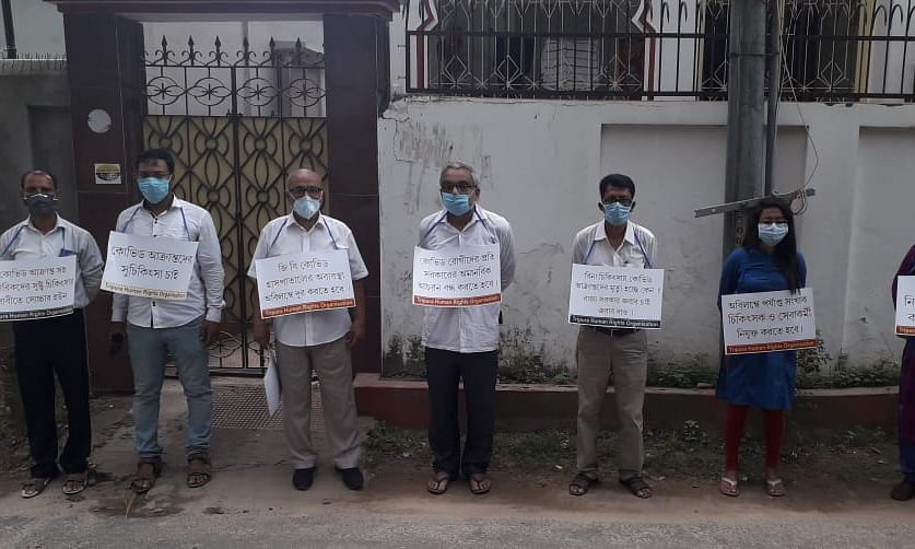 Tripura Human Rights Organisation holding silent protest against COVID-19 mismanagement in Agartala