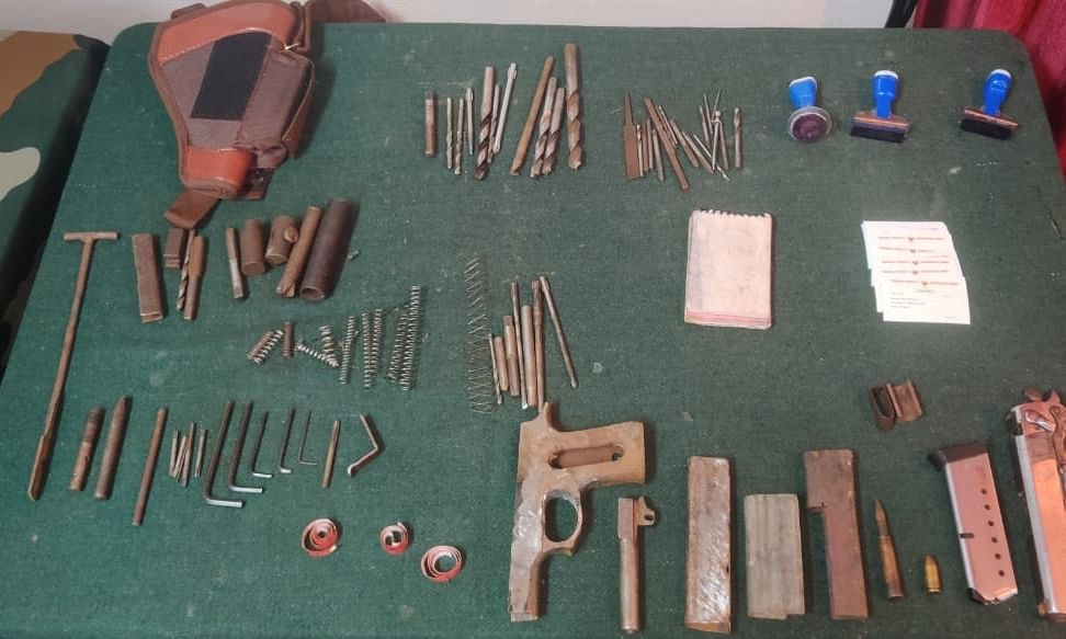 Weapons were recovered from the house of the cadre of TPLA faction in Kangpokpi district, Manipur