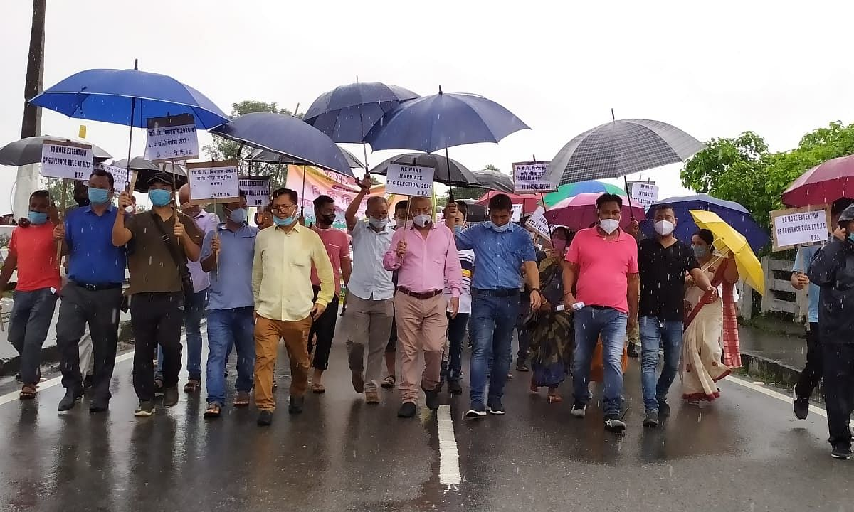 BPF leaders take out a protest march in Kokrajhar on Friday