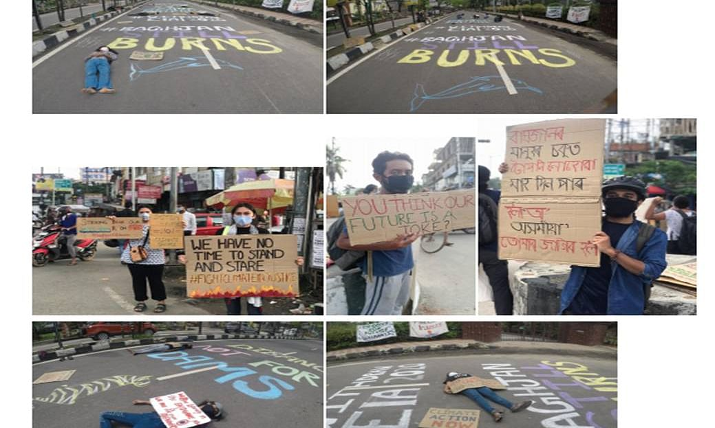 Global Climate Strike demontration by Fridays For Future, Guwahati, consisted of a Die In Act, Chalktivism and Street Strike