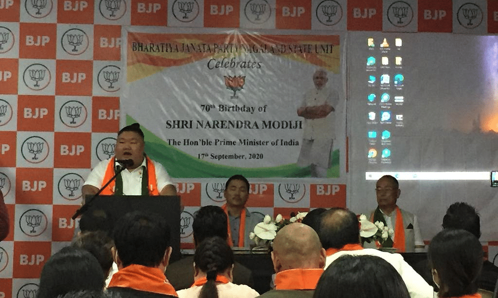 State BJP president Temjen Imna Along addressing the gathering