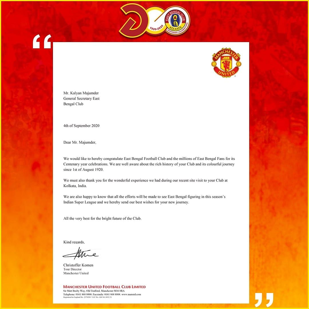 The letter by Manchester United