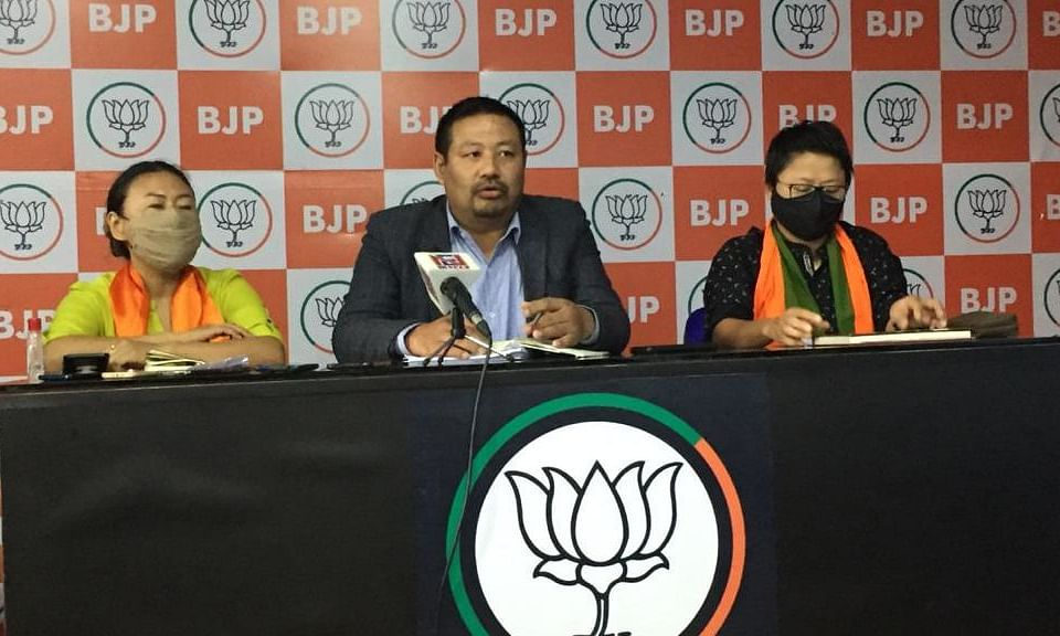 From left: Phangnon Konyak, State BJP Mahila President,  Lanuakum O, State BJP secretary, and Nini Cheng, state BJP co-chief spokesperson addressing a presser