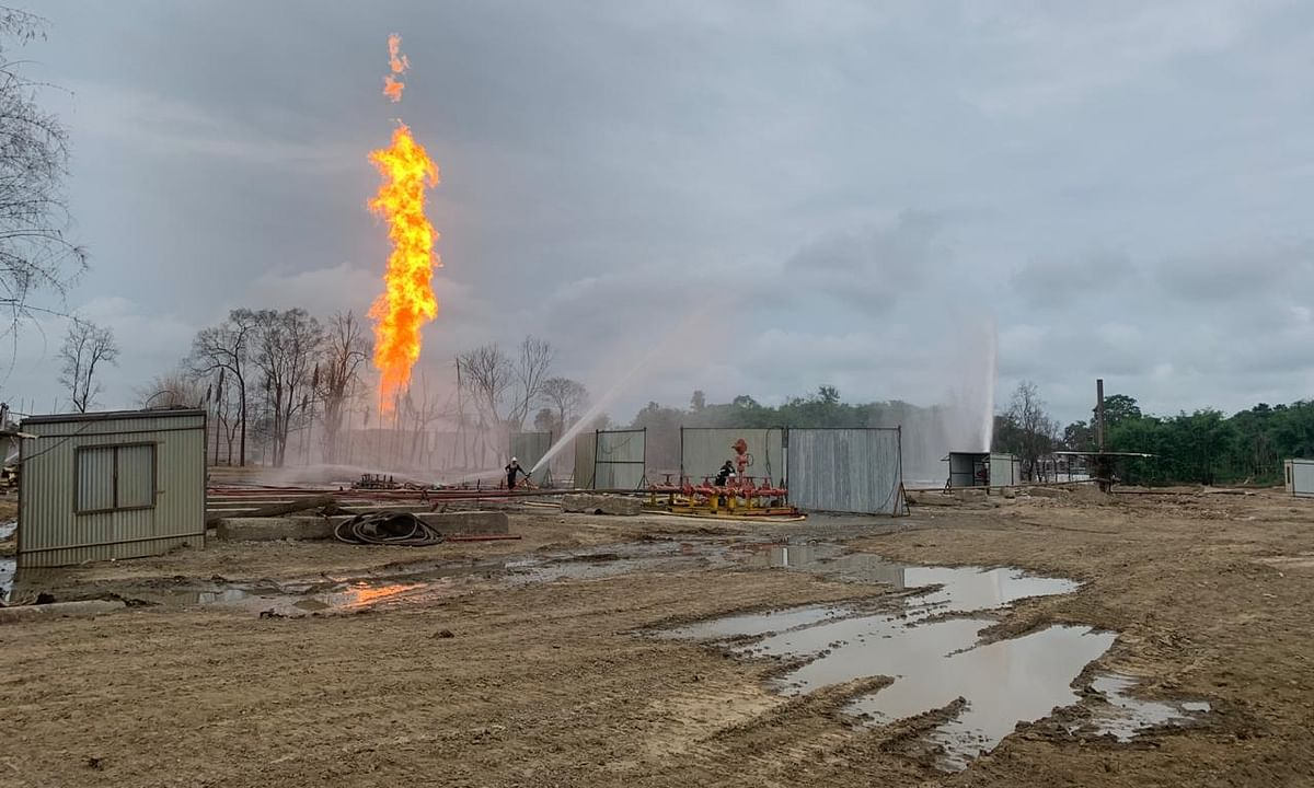 The Baghjan blowout well on Monday after fire doused at the well and is burning from the flare pit in a controlled manner.