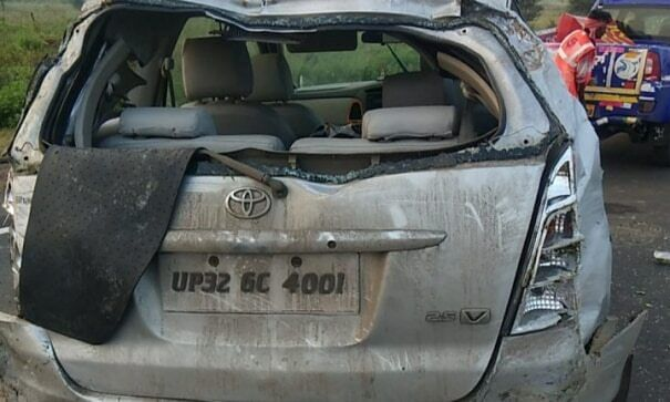 The vehicle overturned after being hit by a 'nilgai'