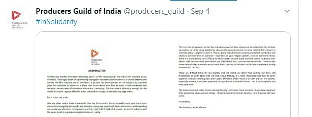 The open letter by Producers Guild of India
