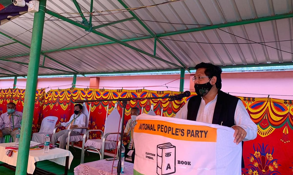 NPP National President, Conrad K Sangma addressing the party on Sunday in Manipur