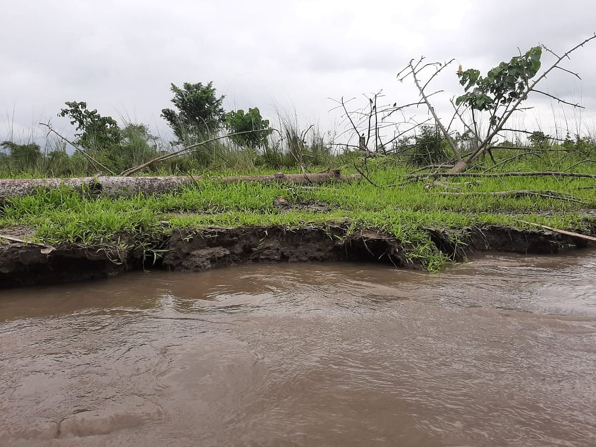 Erosion caused due to annual floods in a village in Sonitpur district of Assam