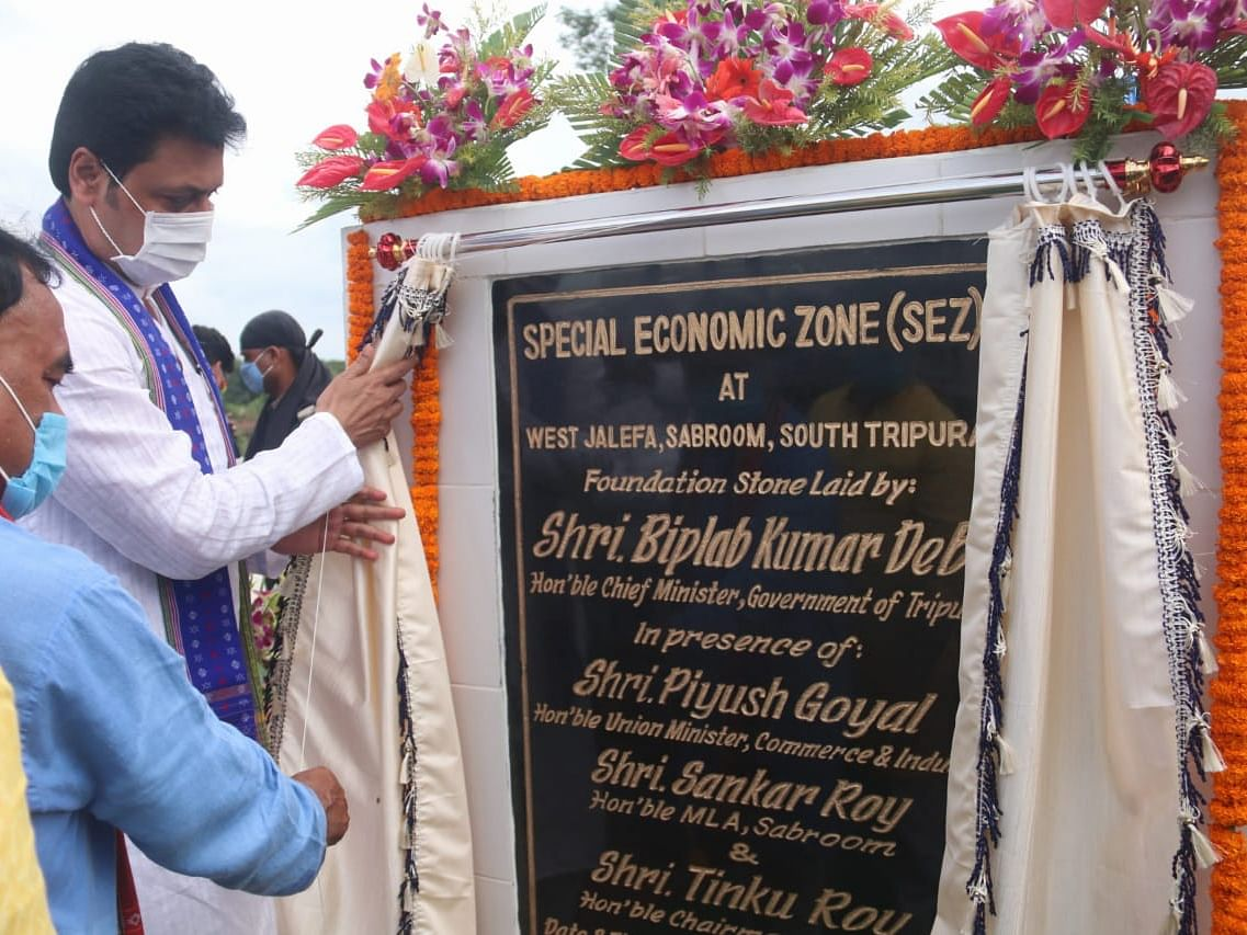 Tripura CM lays foundation stone for states 1st special economic zone
