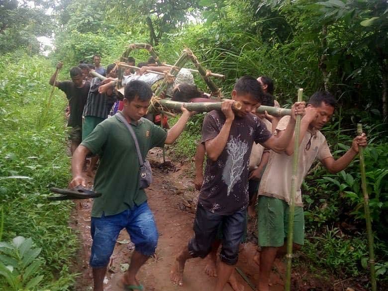 Meghalaya villagers carry pregnant woman on make-shift stretcher to reach nearest PHC