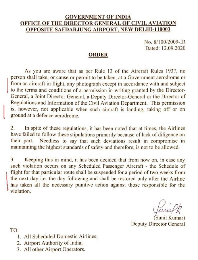 The order copy issued by Director General of Civil Aviation on Saturday