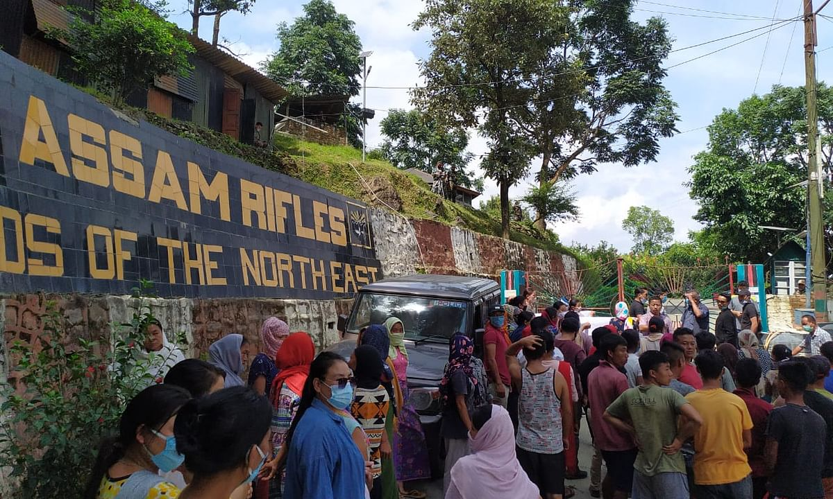 Locals staged protest in front of 34th Assam Rifles gate in Manipur on Saturday