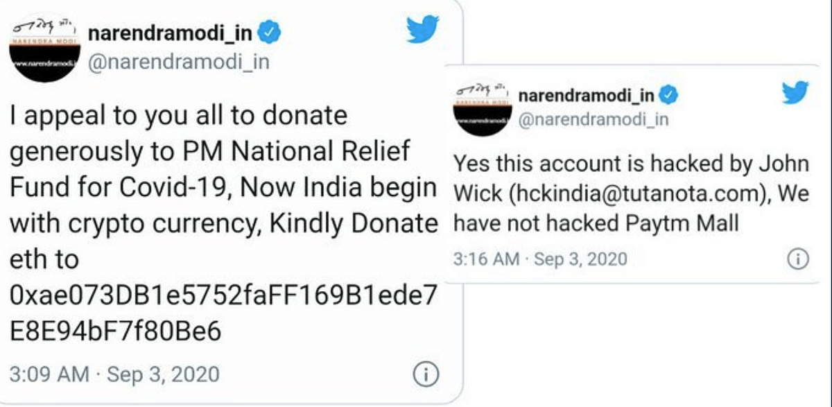 Twitter account linked to Prime Minister Narendra Modi's personal website hacked