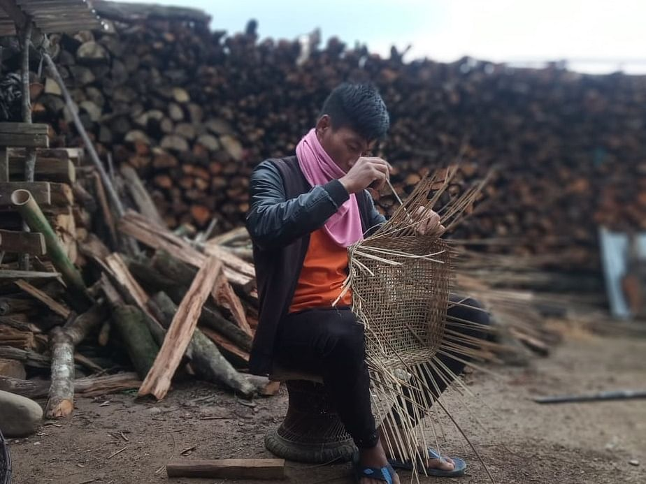 How this youth from Manipur strives to excel in making traditional bamboo basket